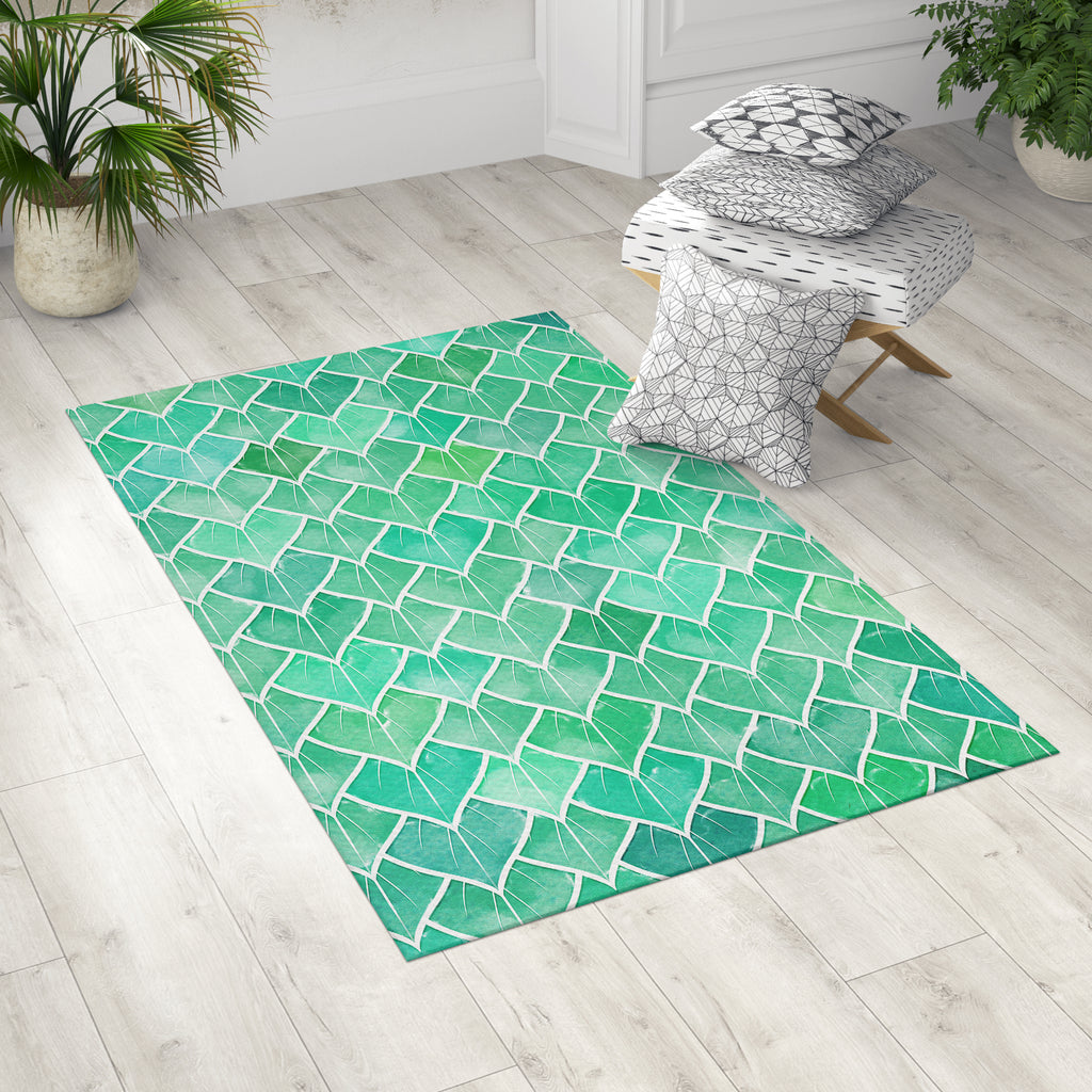 Rainy Leaf Area Rug in Room With Pillows | Brandless Aritst Home Decor