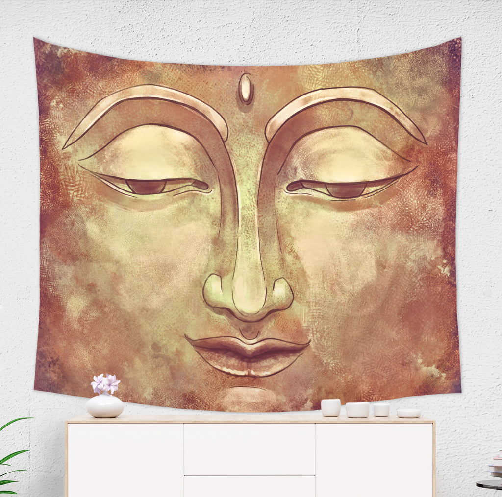 Golden Buddha Tapestry Meditation Room Decor | Brandless Artist