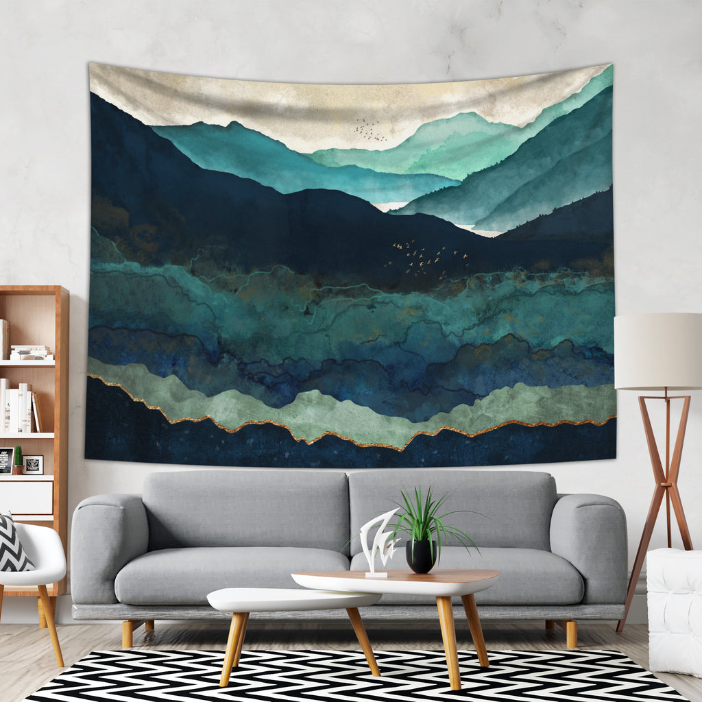 Gloomy Tapestry in Green and Blue Colors - Cheap Wall Hanging | BrandlessArtist