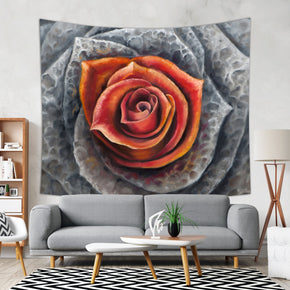 Succulent Flower Tapestry Inspired Wall Hanging, Red and Gray | Brandless Artist