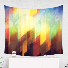 Abstract City Tapestry - Urban Wall Hanging, Yellow and Blue | Brandless Artist