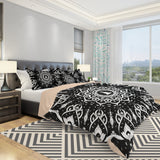 Black Mandala Bedding Set Spiritual Bedroom Decor