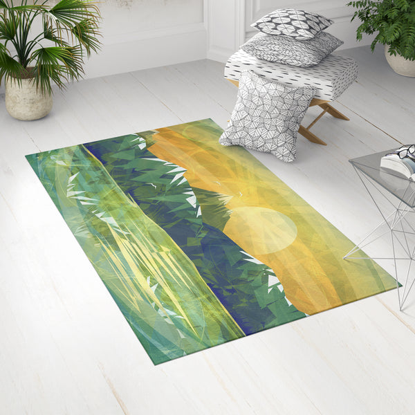 Green Yellow Landscape Dobby Rug in Boho Room | Brandless Artist
