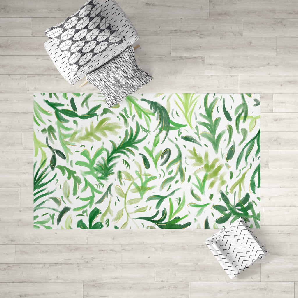 Green Boho Dobby Rug in Room | Brandless Artist
