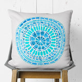 Square Throw Pillow Turquoise with Tribal Pattern | Brandless Artist