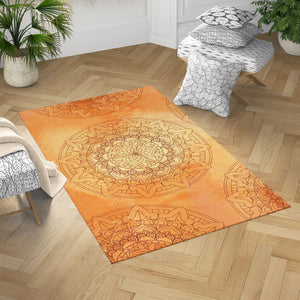 Orange Sun Mandala Dobby Rug | Brandless Artist