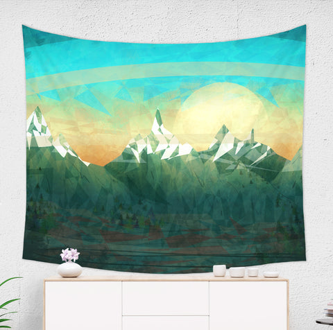 Green mountain tapestry hanged on wall