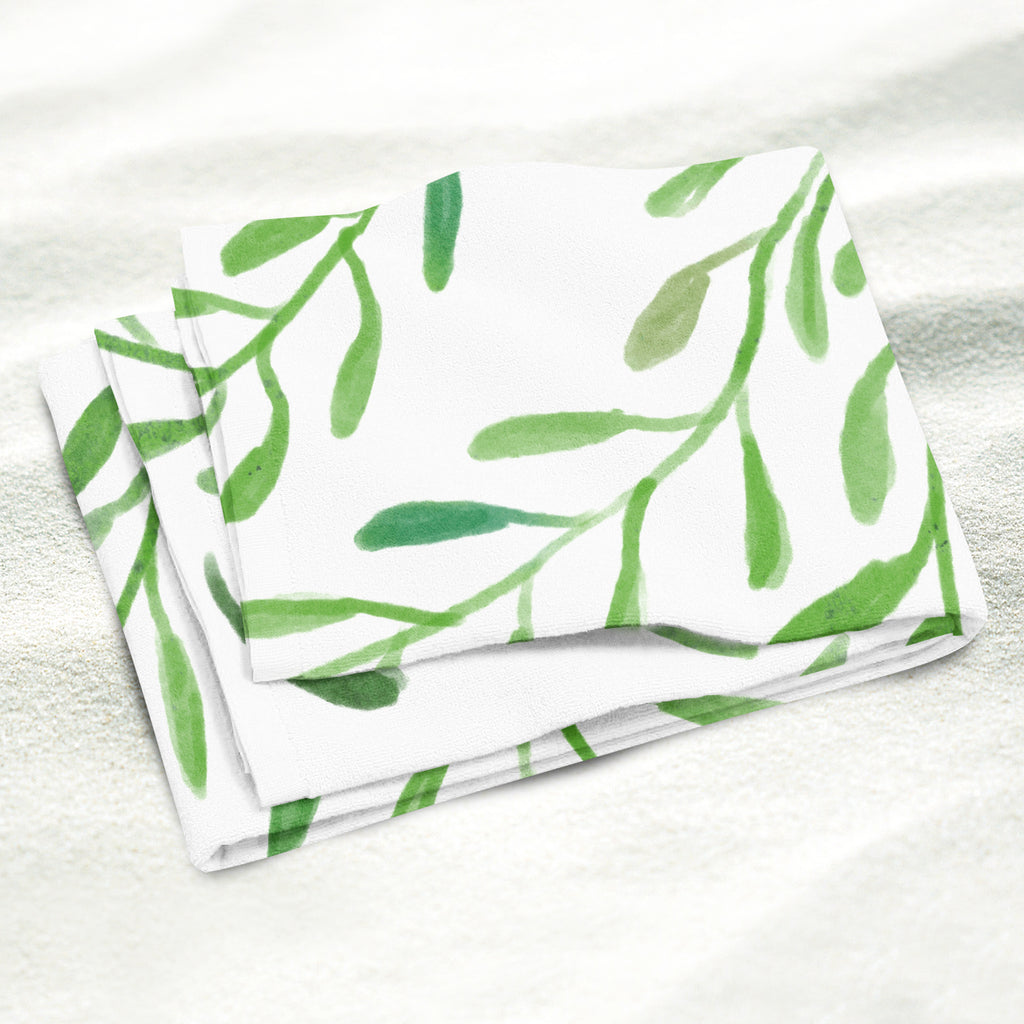 Greenery Beach Towel Close Up - Microfiber Towel | Brandless Artist