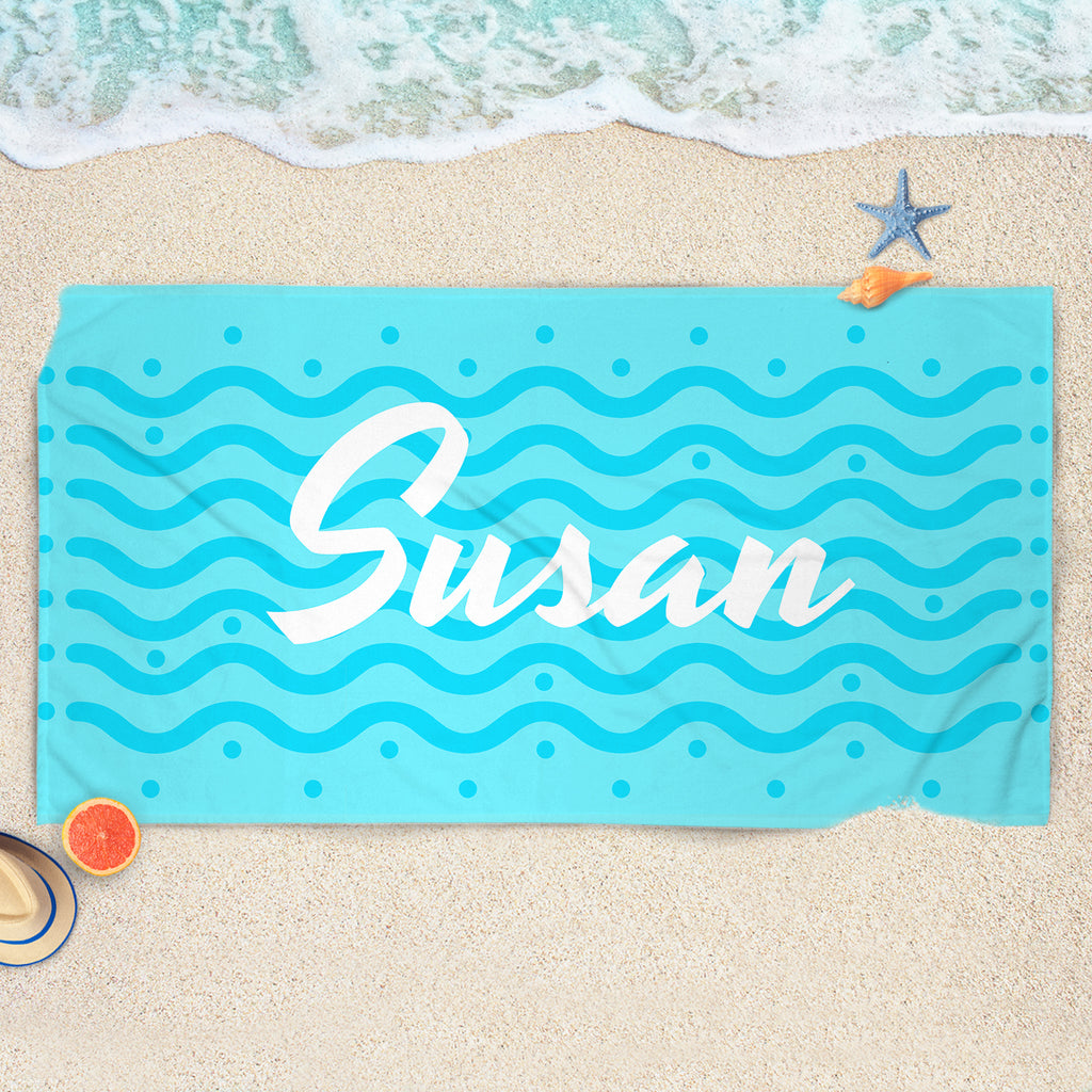Blue Custom Name Towel - Custom Beach Towel | Brandless Artist