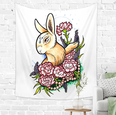 Cute Rabbit Tapestry - Wall Hanging for Girls | Brandless Artist