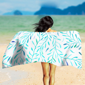 Blue Leaves Beach Towel - Botanical Beach Towel | Brandless Artist