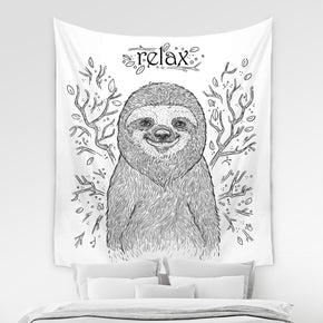 Lazy Sloth Tapestry Funny Dorm Room Decor in Black and White | Brandless Artist
