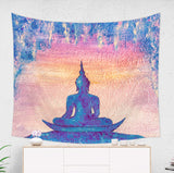 Meditating Buddha Tapestry, Pink and Blue Spiritual Wall Hanging | Brandless Artist
