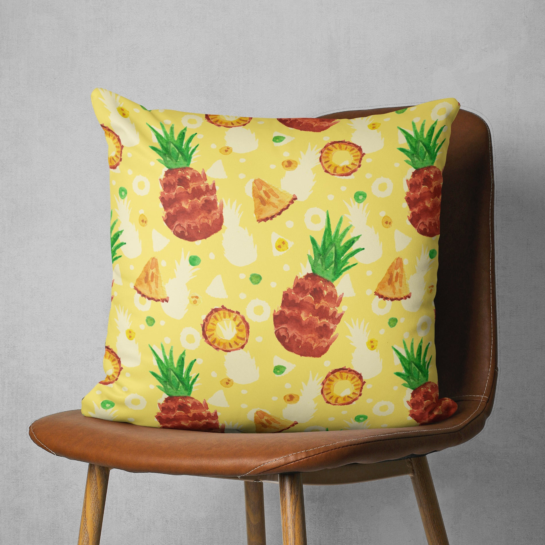 Pineapple Pillow - Summer Fruit Cushion, Yellow | Brandless Artist