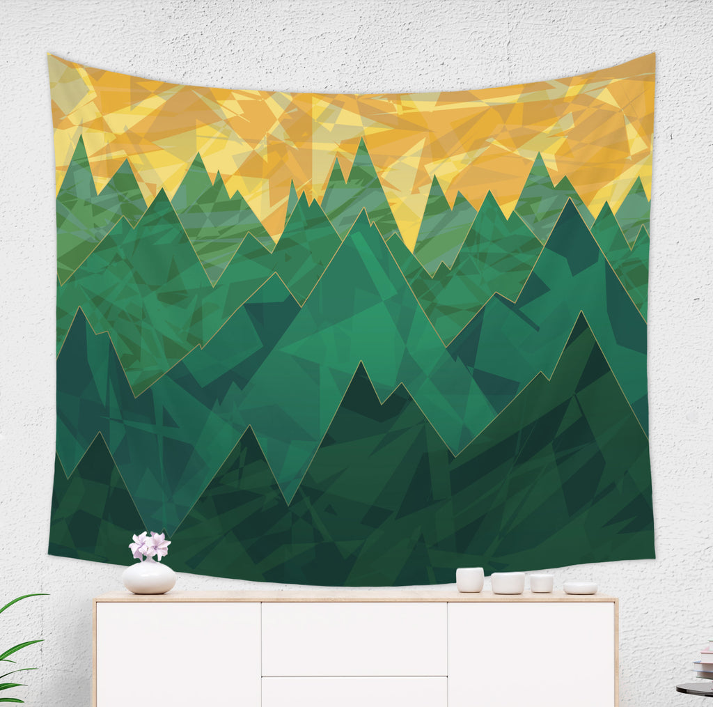 Minimalist Mountain Tapestry Wall Hanging in Green and Yellow | Brandless Artist