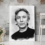Alan Rickman Art Print Black and White Portrait