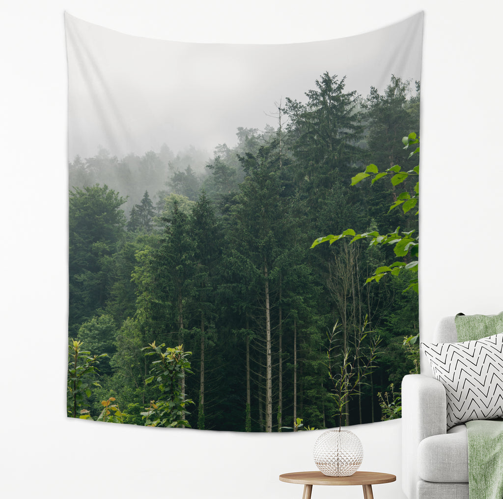 Misty Forest Tapestry Autumn Home Decor With Trees and Fog | Brandless Artist