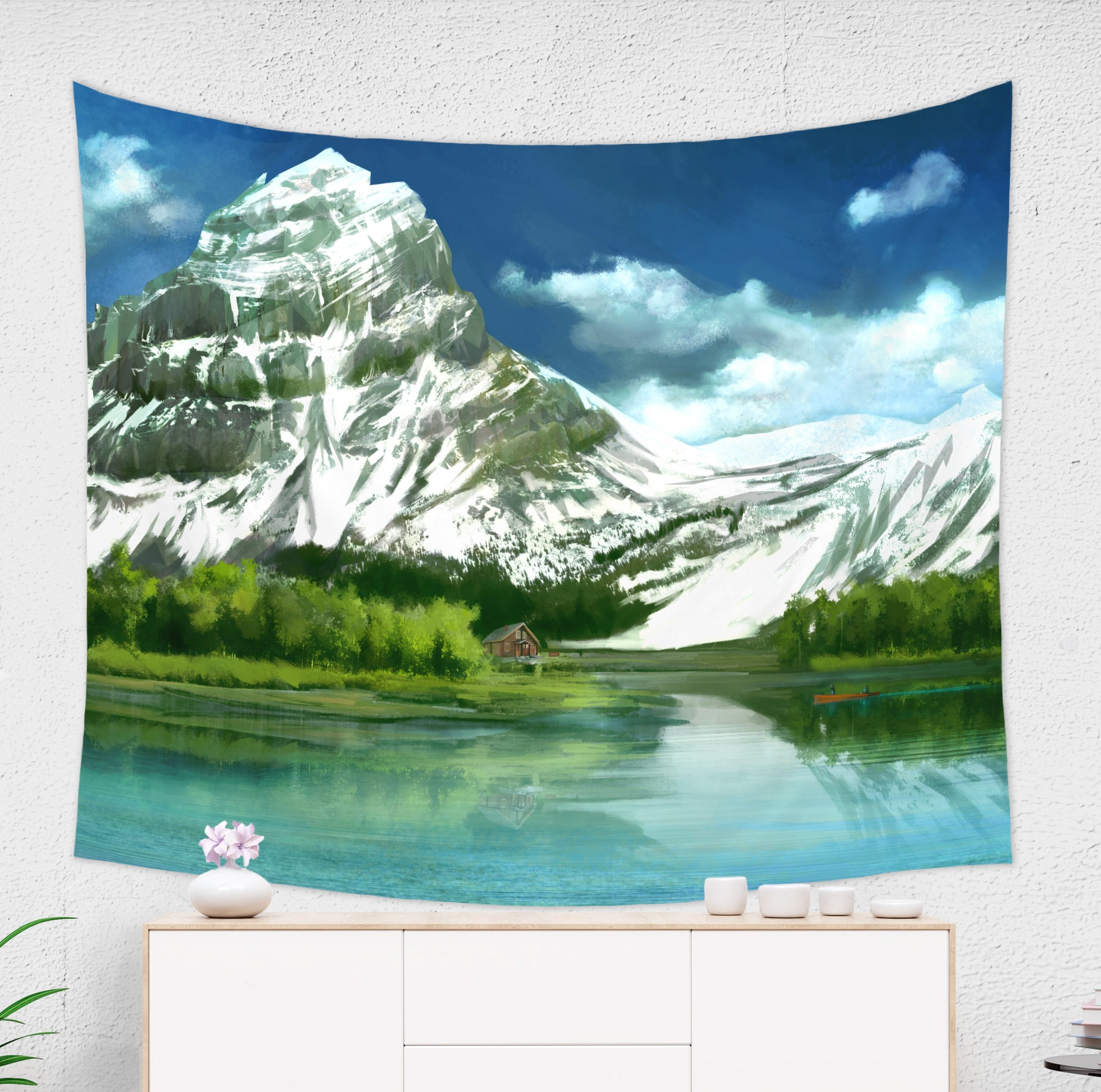 Mountain Landscape Tapestry for Hikers with Lake and Boat in Blue and Green | Brandless Artist