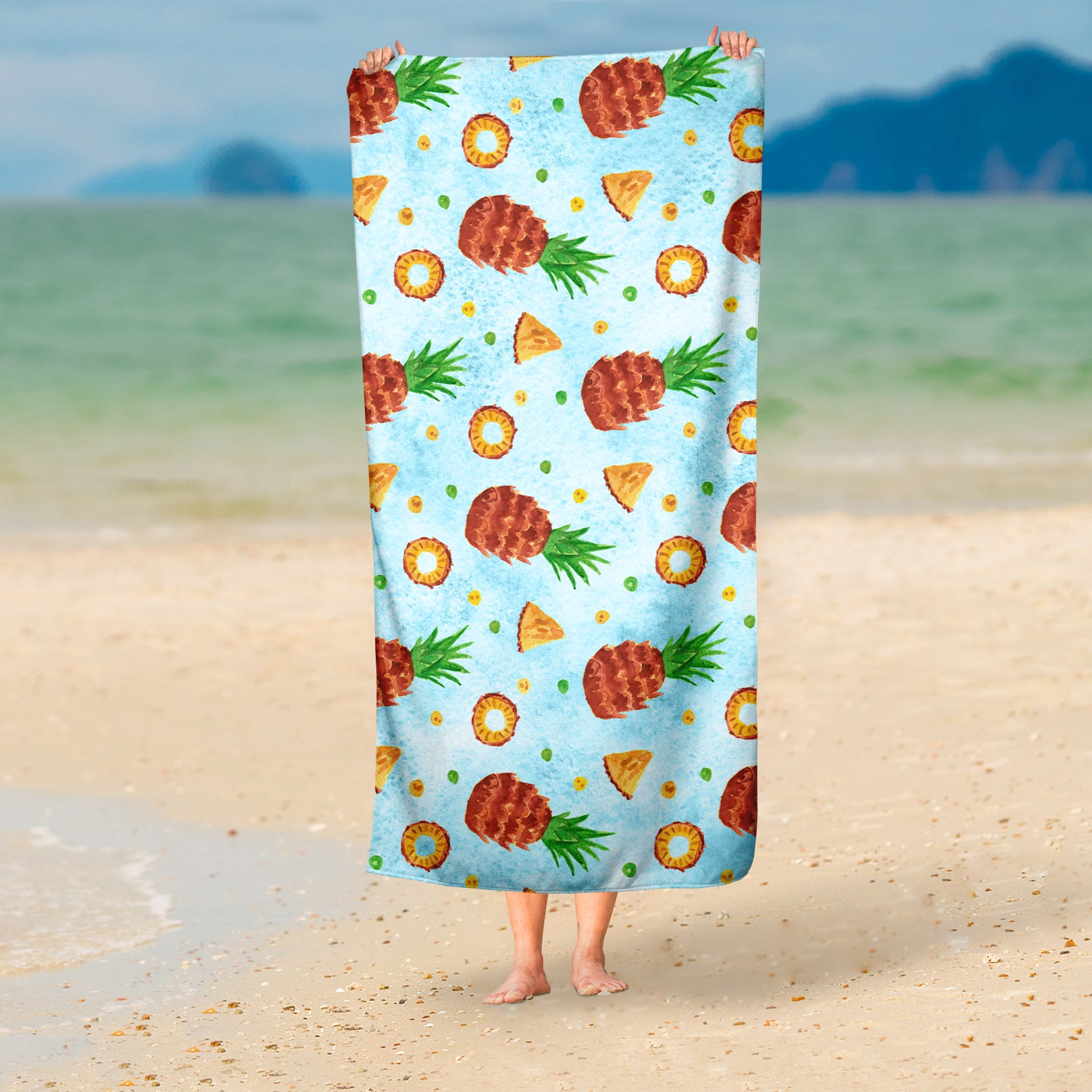 Blue Tropical Beach Towel - Watercolor Beach Towel | Brandless Artist