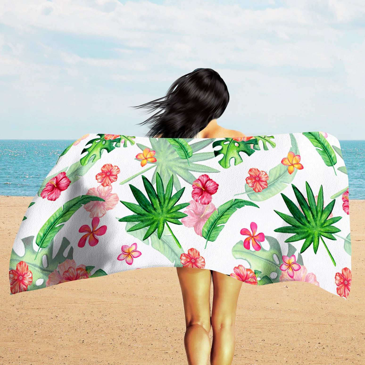 Tropical Leaves Beach Towel - Huge Beach Towel | Brandless Artist