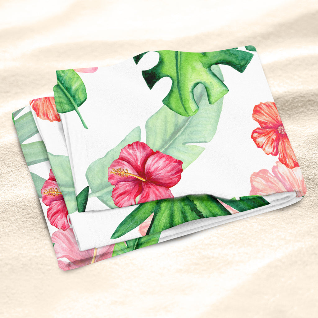 Tropical Pattern Beach Towel Close Up - Tropical Leaves Beach Towel | Brandless Artist