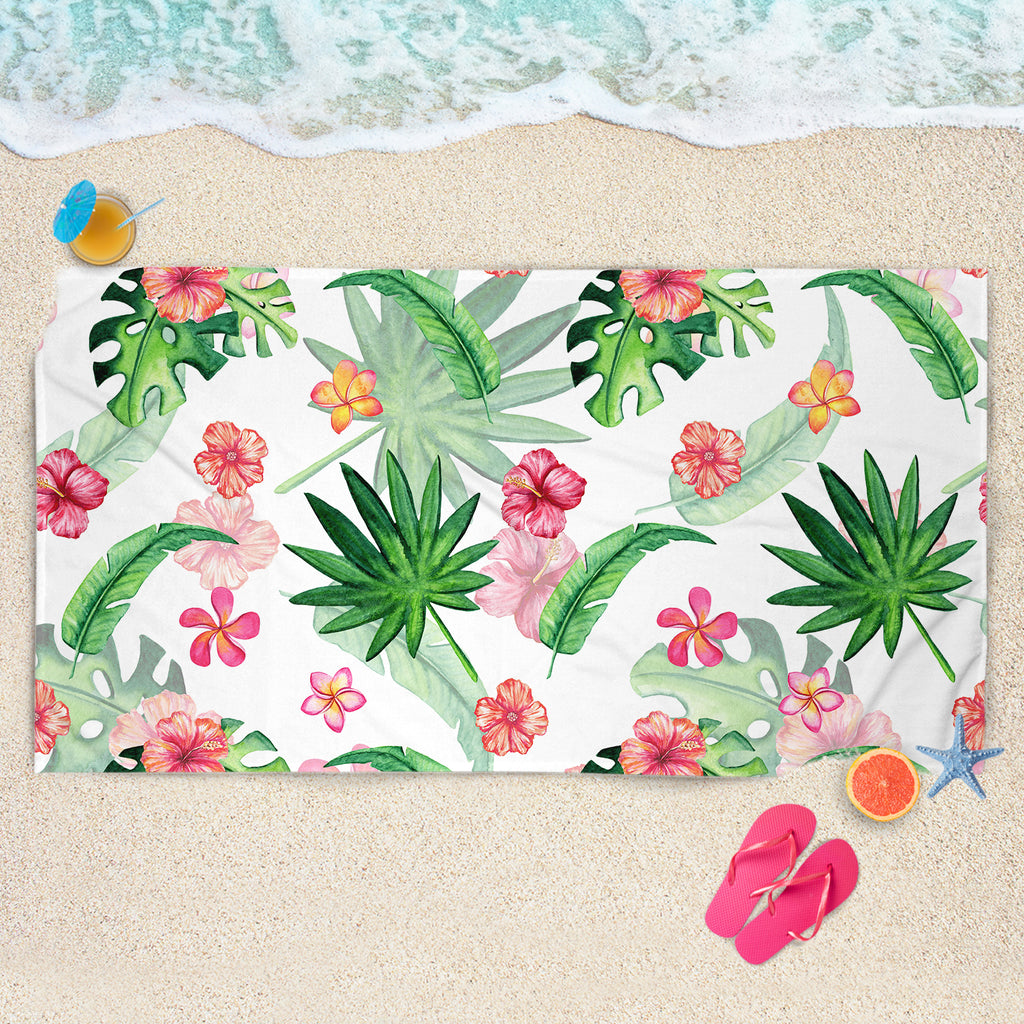 Tropical Leaves Beach Towel - Tropical Flowers Beach Towel | Brandless Artist