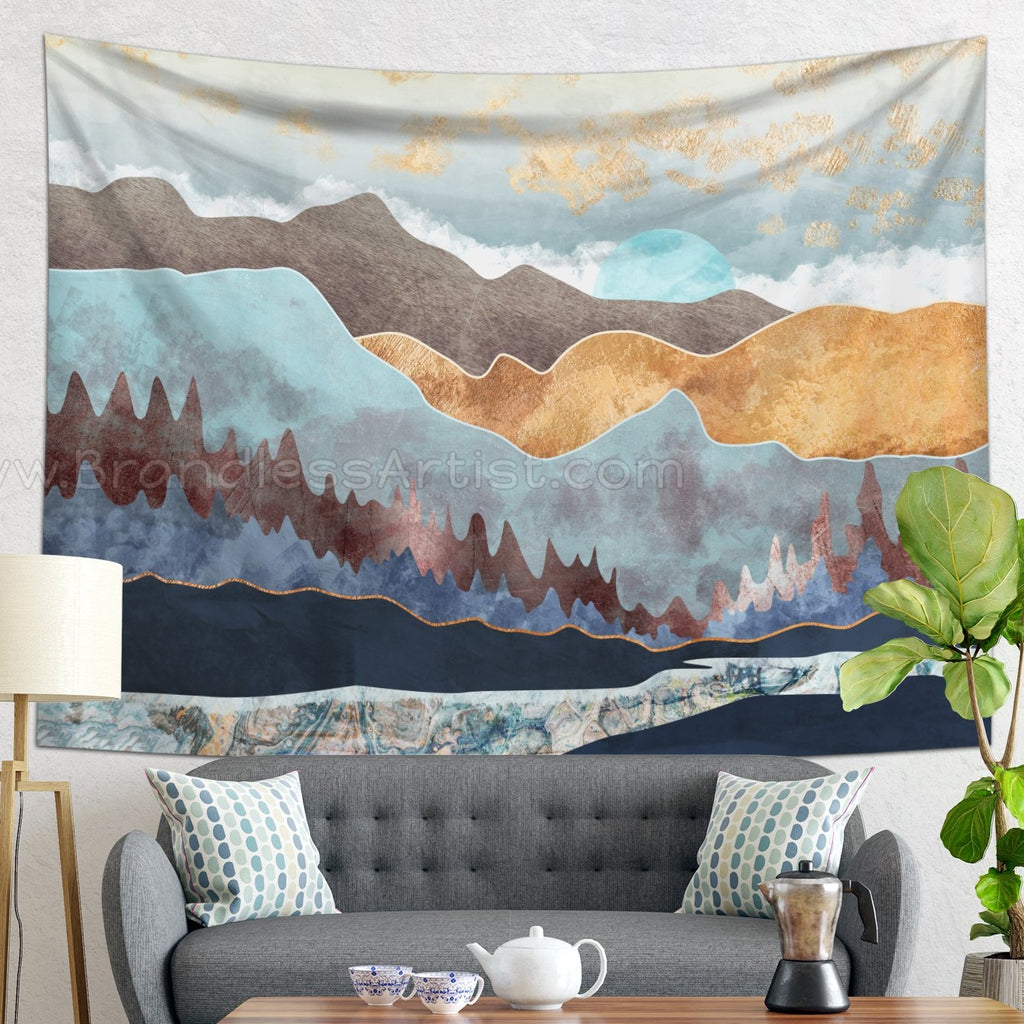 Scandinavian Mountain Tapestry - Blue Scenic Wall Hanging | Brandless Artist