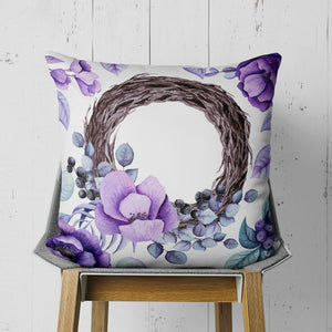 Purple Flower Wreath Throw Pillow - Floral Pillow | Brandless Artist