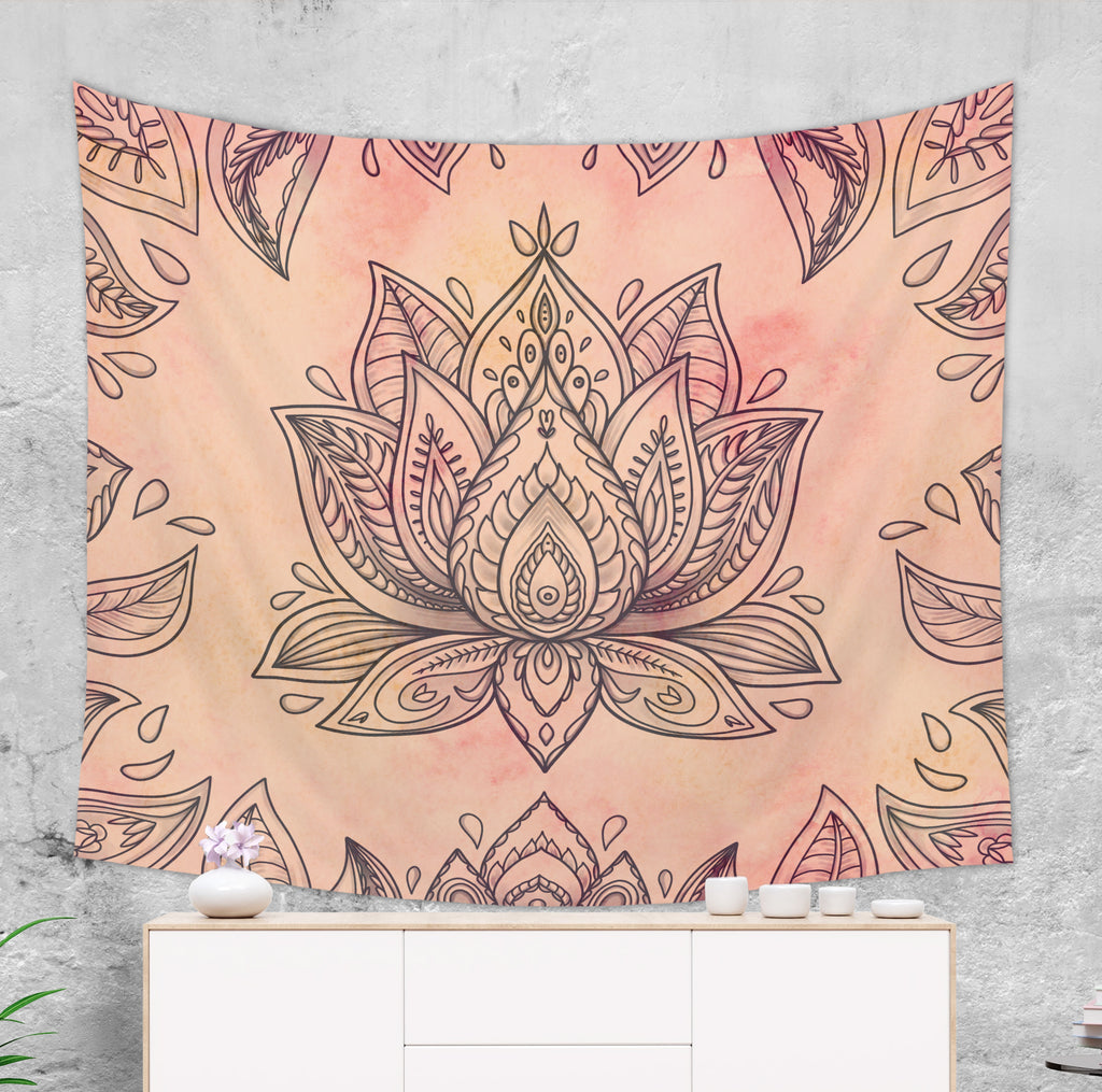 Lotus Tapestry Wall Hanging Dorm Room Decor with Hippie Elements | Brandless Artist