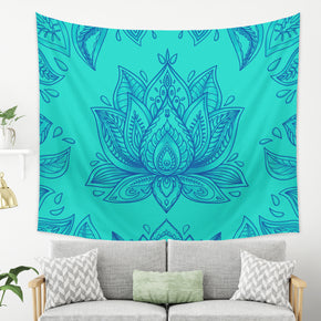 Blue Lotus Tapestry - Mandala Wall Hanging Hippie Home Decor with Floral Elements | Brandless Artist