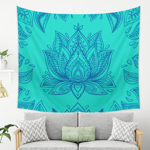 Blue Lotus Tapestry - Blue Mandala Tapestry | Brandless Artist