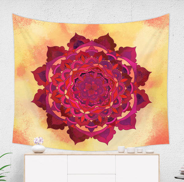 Orange Mandala Tapestry - Brandless Artist