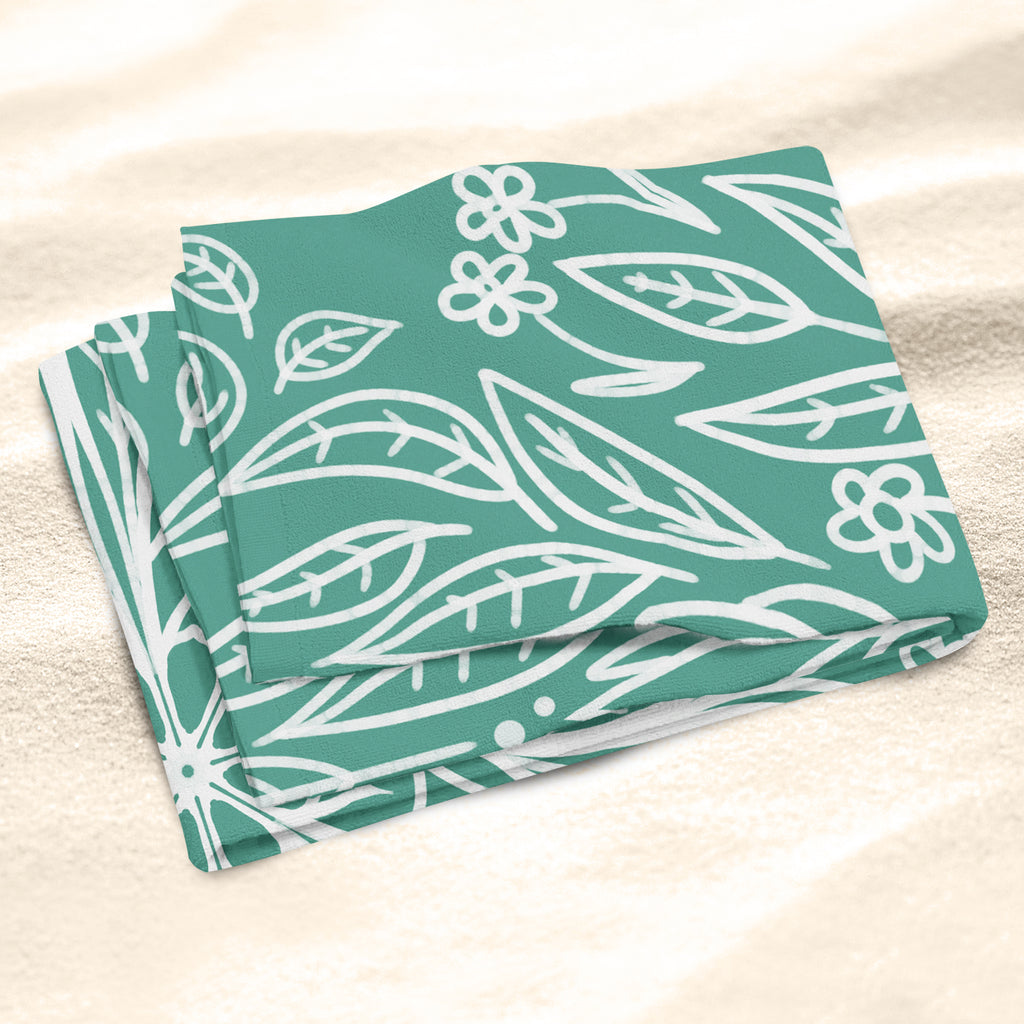 Green Beach Towel - Botanical Beach Towel | Brandless Artist