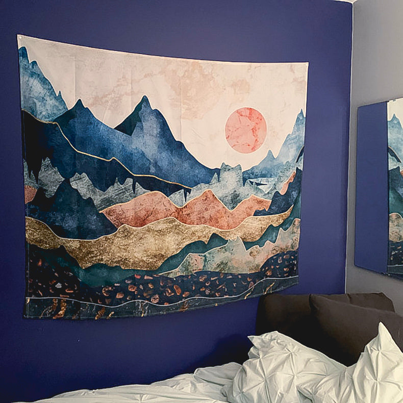 Blue Mountains Tapestry Hanged on Purple Wall | Brandless Artist