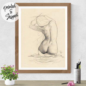 Nude Print Pencil Drawing - Figure Art | Brandless Artist