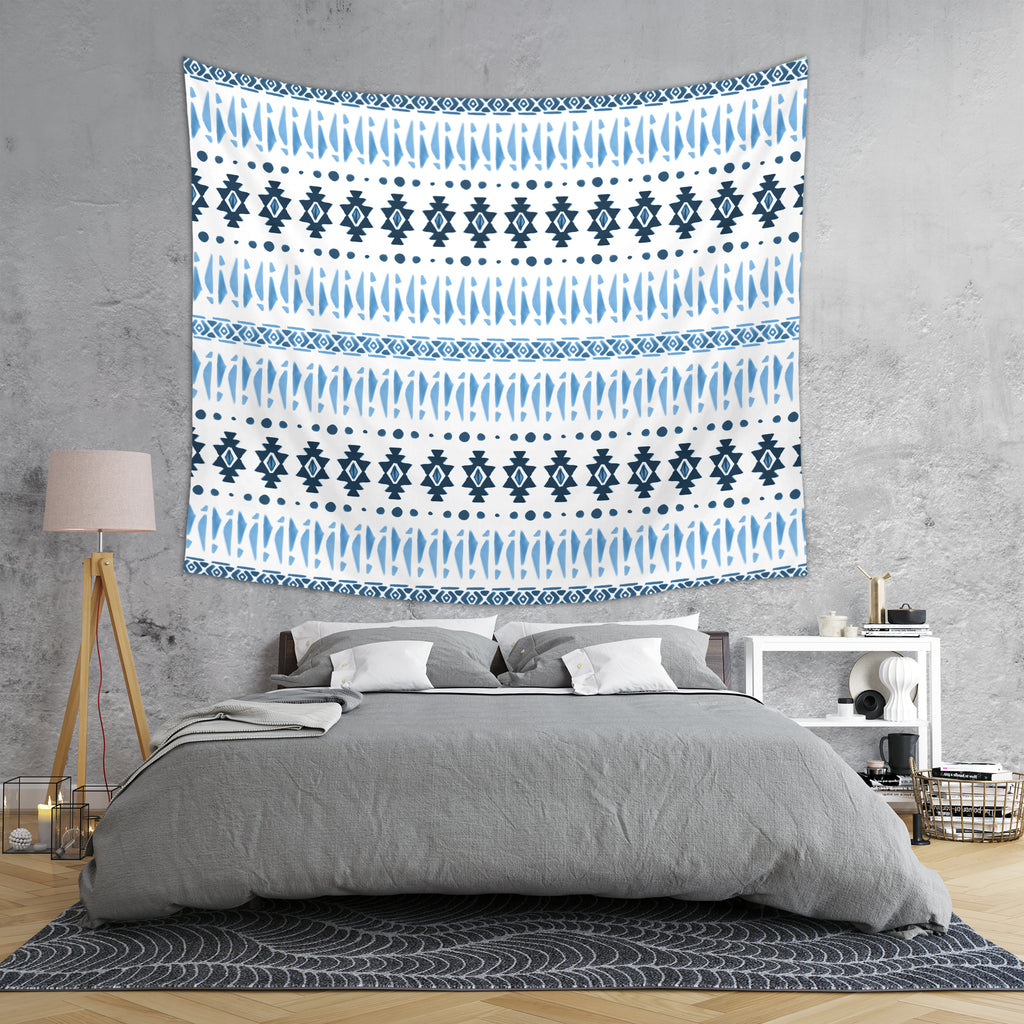 Blue Aztec Tapestry in Room - Hand Drawn Tribal Tapestry | Brandless Artist