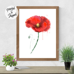 Red Poppy Print - Watercolor Flower Print | Brandless Artist