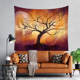 Halloween Decorative Tapestry for Kids Room, Orange and Brown | Brandless Artist