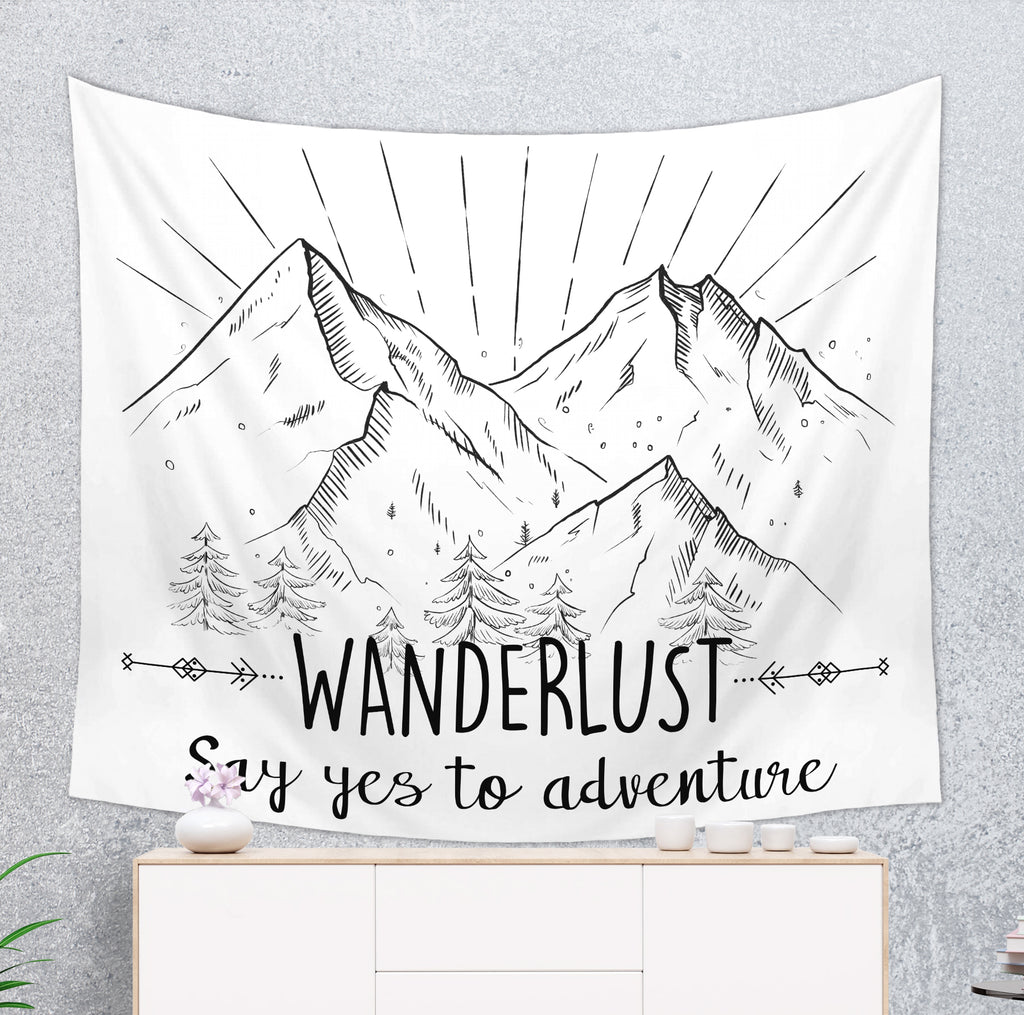 Wanderlust Tapestry - Say Yes to Adventure Wall Hanging | Brandless Artist