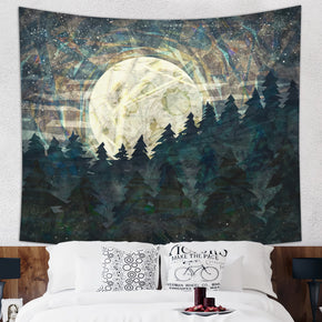 Moon Child Tapestry Modern Wall Hanging With Forest and Mountain | Brandless Artist