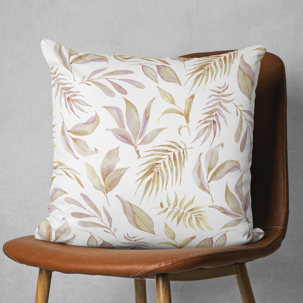 Seasonal Pillow with Leaf Pattern, Boho Square Pillow, Brown and White | Brandless Artist