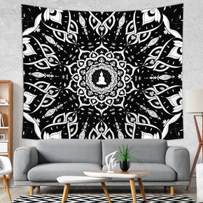 Black and White Tapestry Mandala Wall Hanging for Meditation Room | Brandless Artist