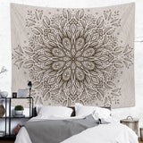 Beige Mandala Tapestry Floral Indian Wall Hanging in Large Size | Brandless Artist