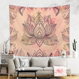 Lotus Tapestry Indian Floral Wall Hanging in Brown and Beige Colors | Brandless Artist