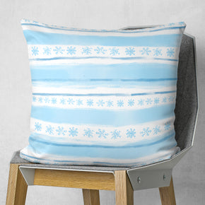 Winter Pillow Cover - Festive Blue Square Cushion
