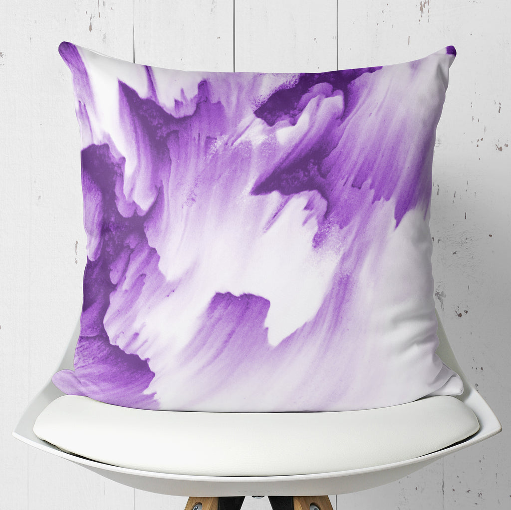 Purple White Throw Pillow - Abstract Grunge Home Decor | Brandless Artist
