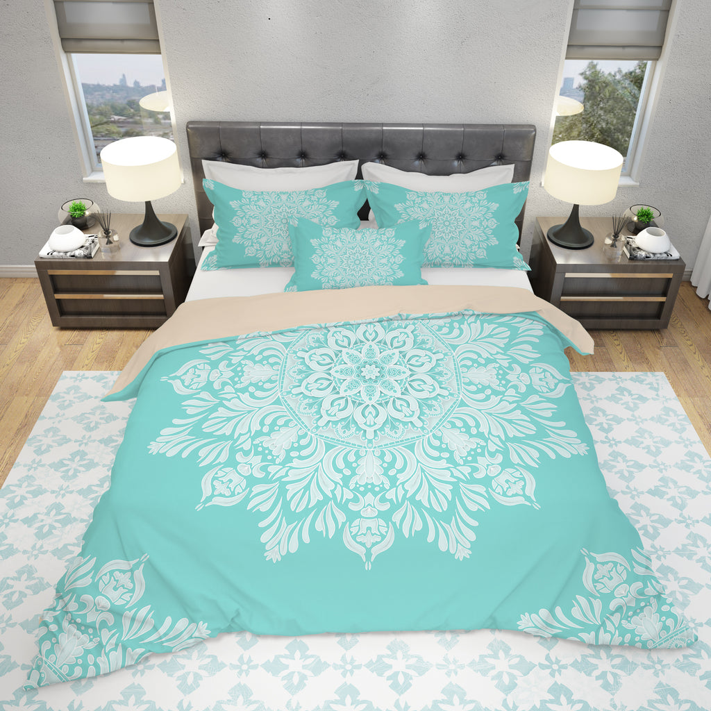 Turquoise Mandala Duvet Cover - Spiritual Home Decor