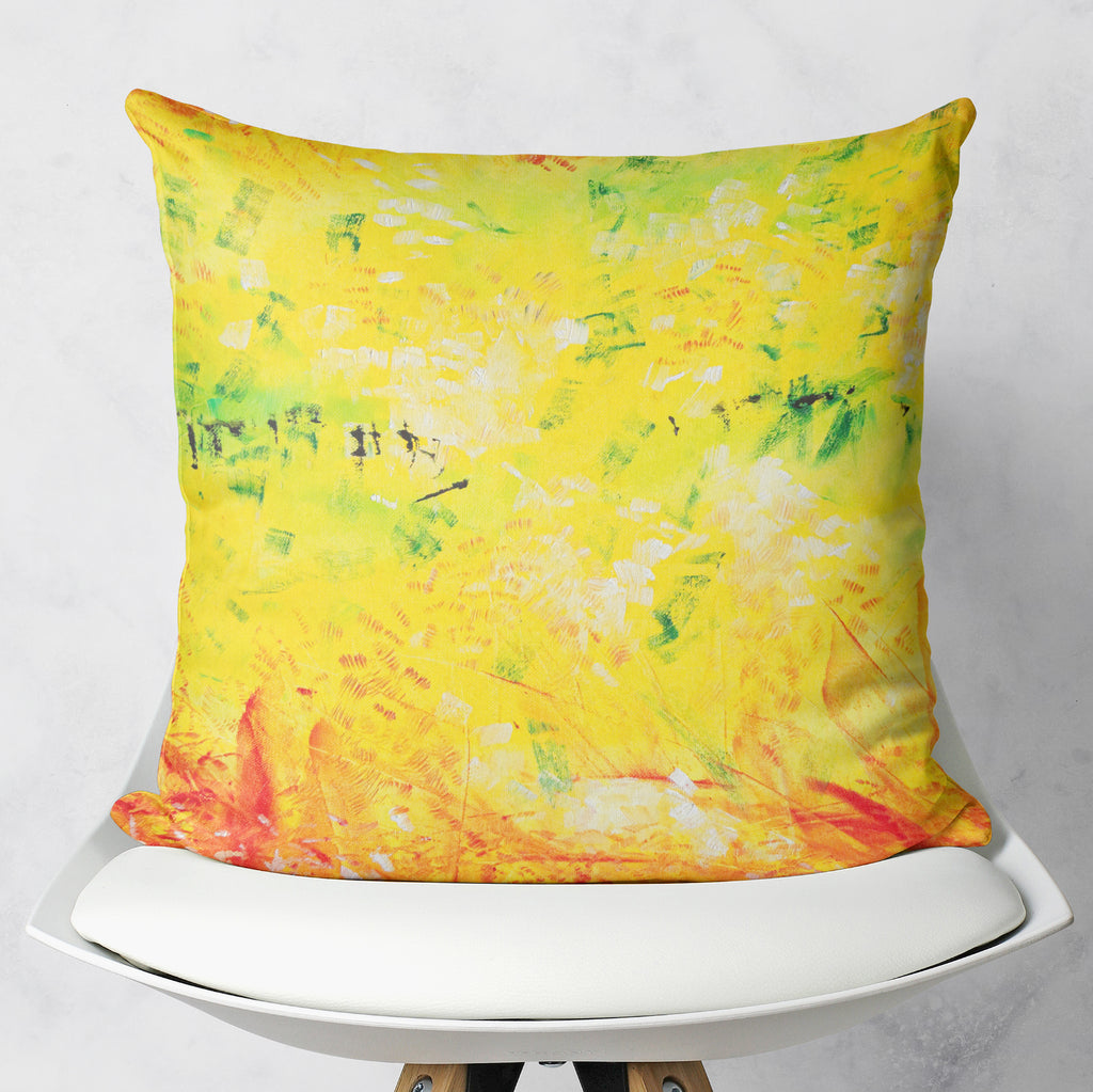 Yellow Abstraction Throw Pillow Couch Decor | Brandless Artist