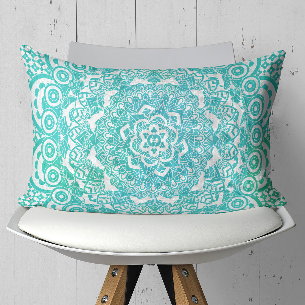 Ombre Blue Mandala Throw Pillow Rectangle | Brandless Artist