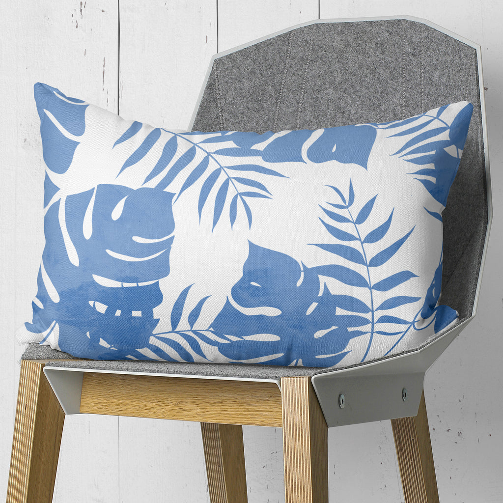 Blue Palm leaves Throw Pillow for Couch and Bed | Brandless Artist